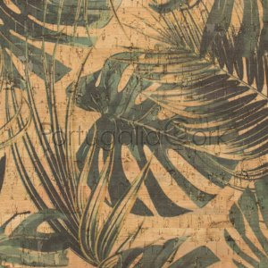 Cork fabric printing Jungle Leaves
