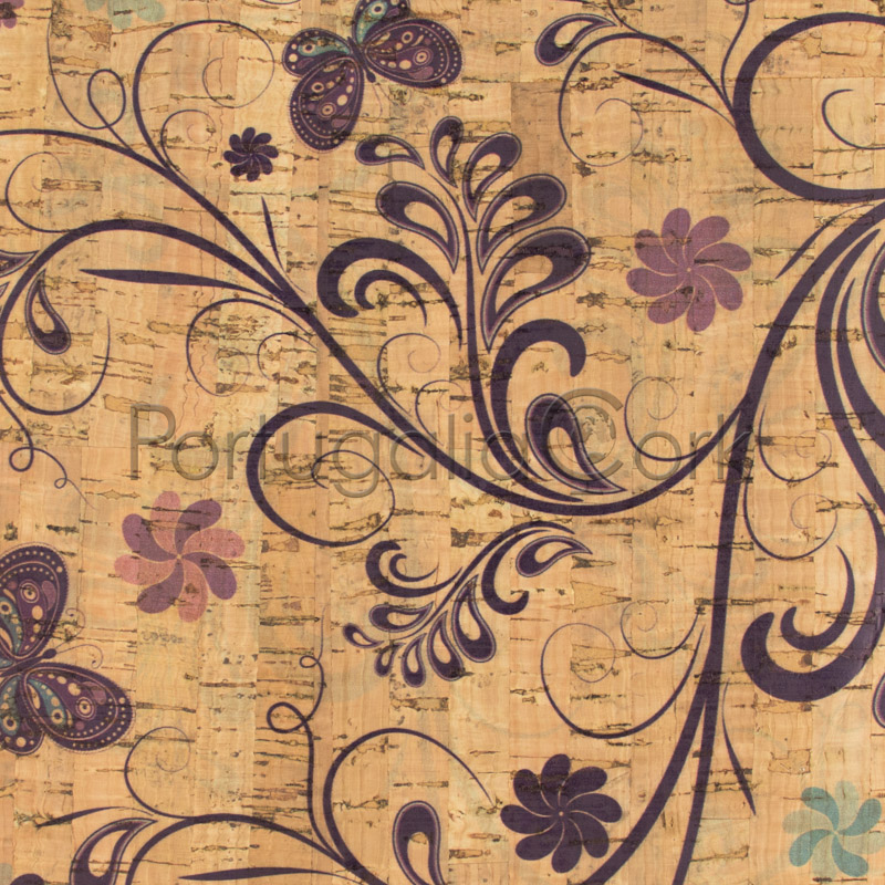 Cork fabric printing Butterfly Garden
