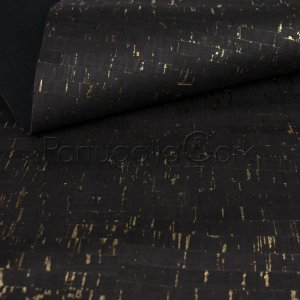 Cork fabric Natural Black with gold
