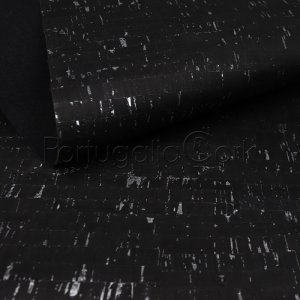Cork fabric Natural Black with silver
