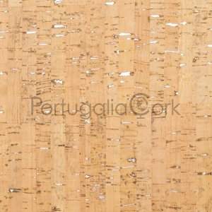Cork fabric Natural with silver