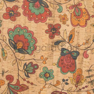 Cork fabric printing Amazon flowers
