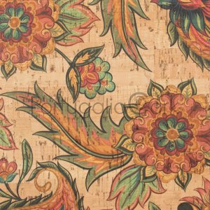 Cork fabric printing Tropical Flowers
