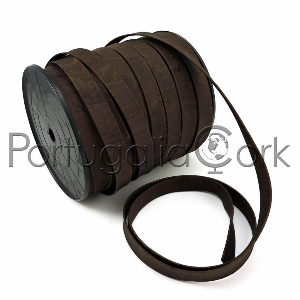Cork cord 19 mm flat brown