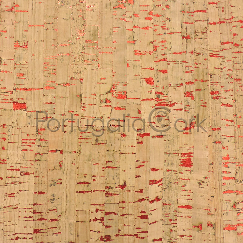 Cork fabric Natural with red