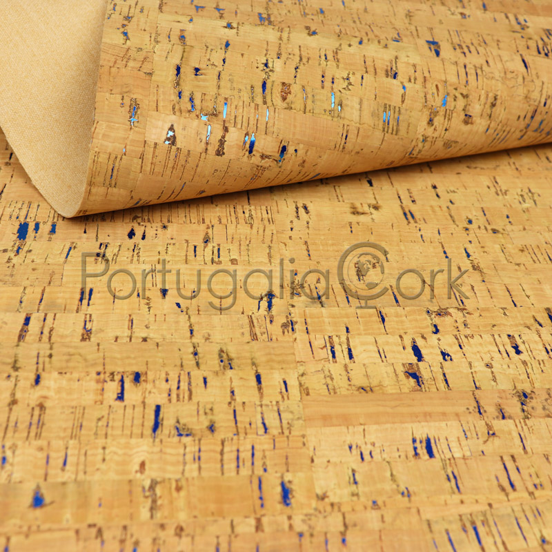 Cork fabric Natural with blue