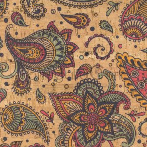 Cork fabric Indian Paisley