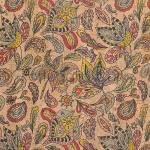 Cork fabric Colourful Paisley flowers