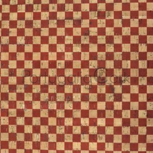 Cork fabric printing Checkers red