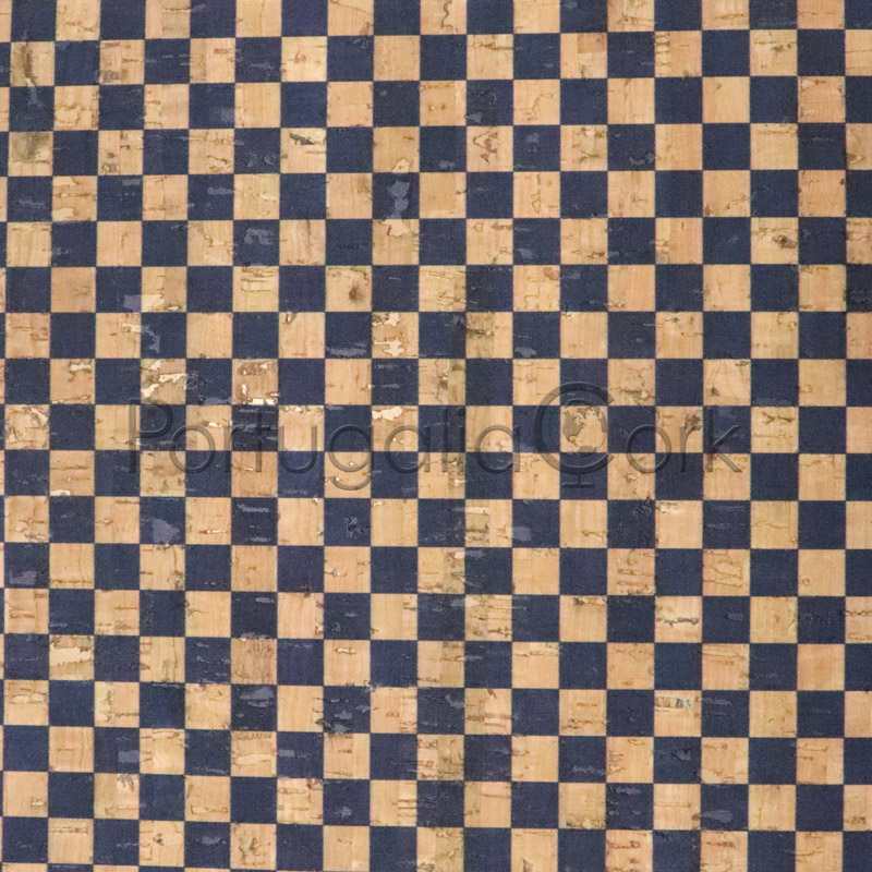 Cork fabric printing Checkers blue