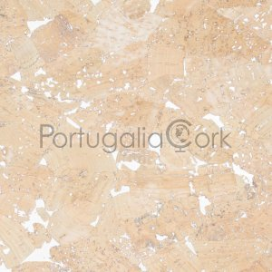 Cork fabric Glossy Marble Cream