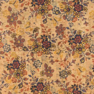 Cork fabric printing Orange flowers