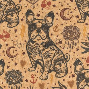 Cork fabric printing Bulldogs