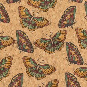 Cork fabric printing Butterflies